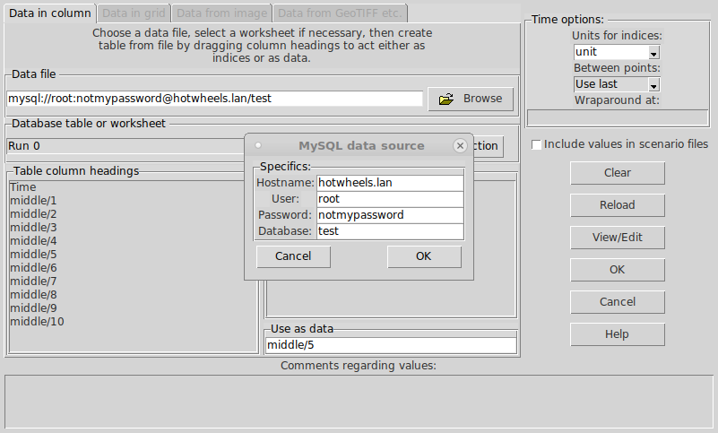Image of the table data dialogue, v6.9
